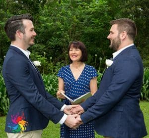 Same sex wedding by Merlin marriage celebrant and Rainbowweddingphotography